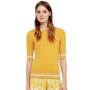 Tory Burch Tops - Tory Burch Ribbed Cotton Polo Sweater in Yellow